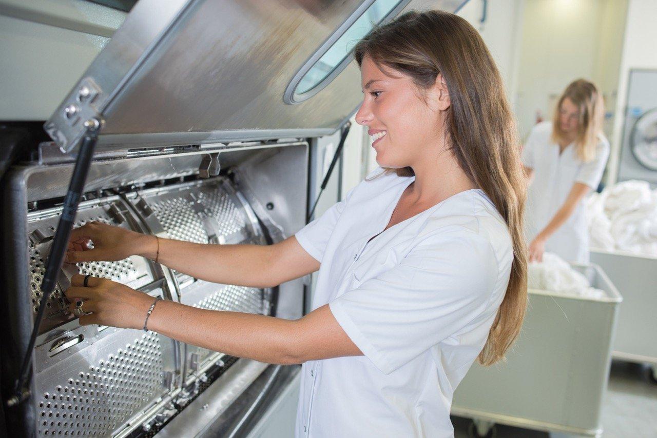 woman and washing machine
