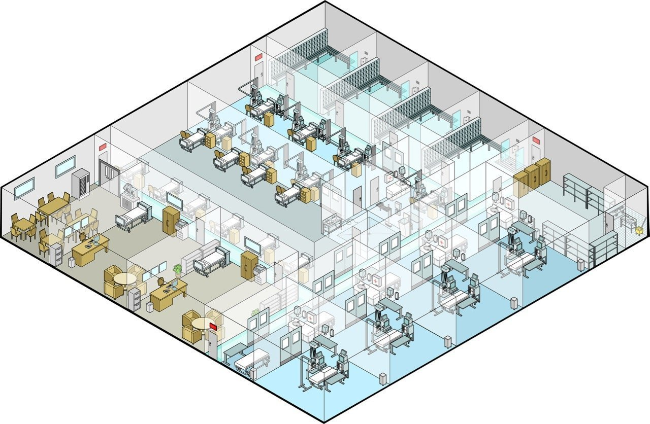 Vector Isometric illustration of different rooms in a hospital with sick bay and wards and operating rooms along with laundry, locker rooms, corridors and doctors rooms.